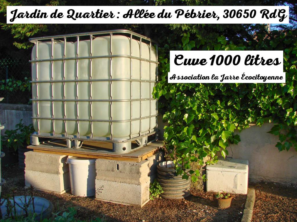 Cuve de 1000 litres - jardin de quartier - association la jarre