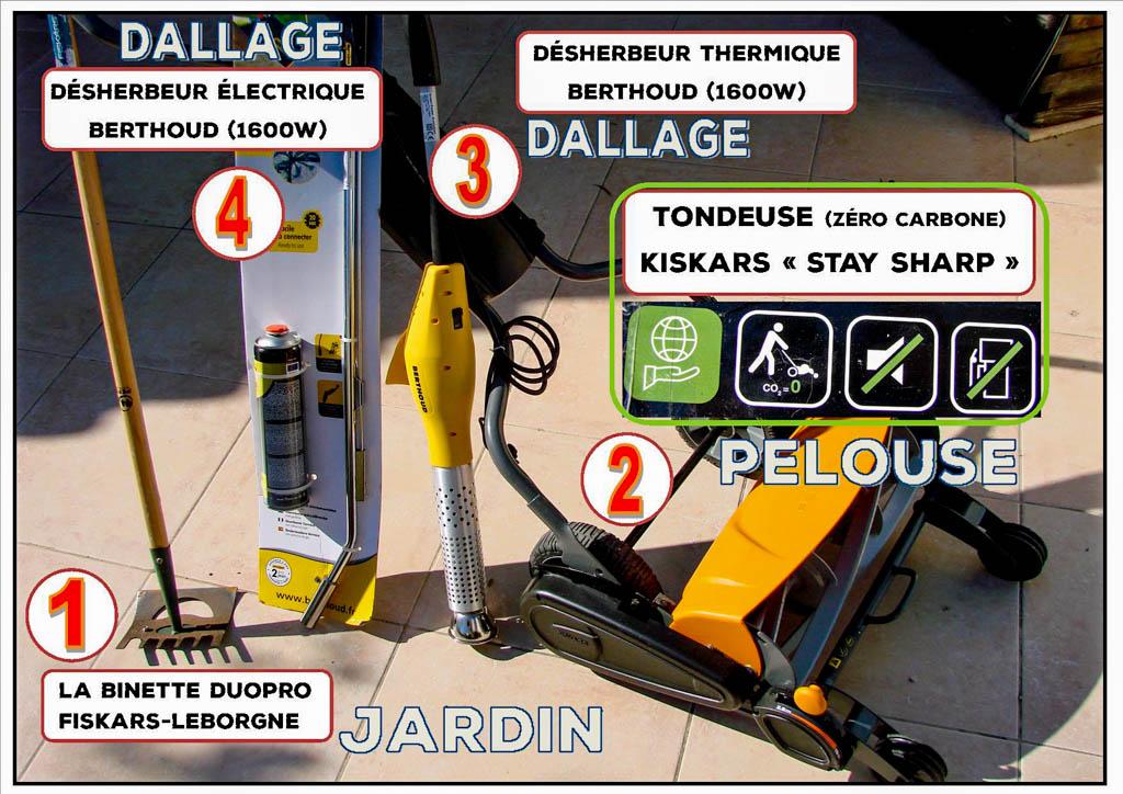 Solutions anti-adventices - Gaz -Électrique - Huile de coude - La Jarre Écocitoyenne - DZprod Jardin