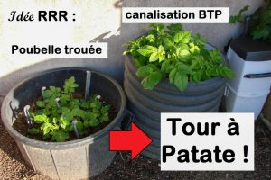 RRR - poubelle trouée et canalisation detournées en tour à patate