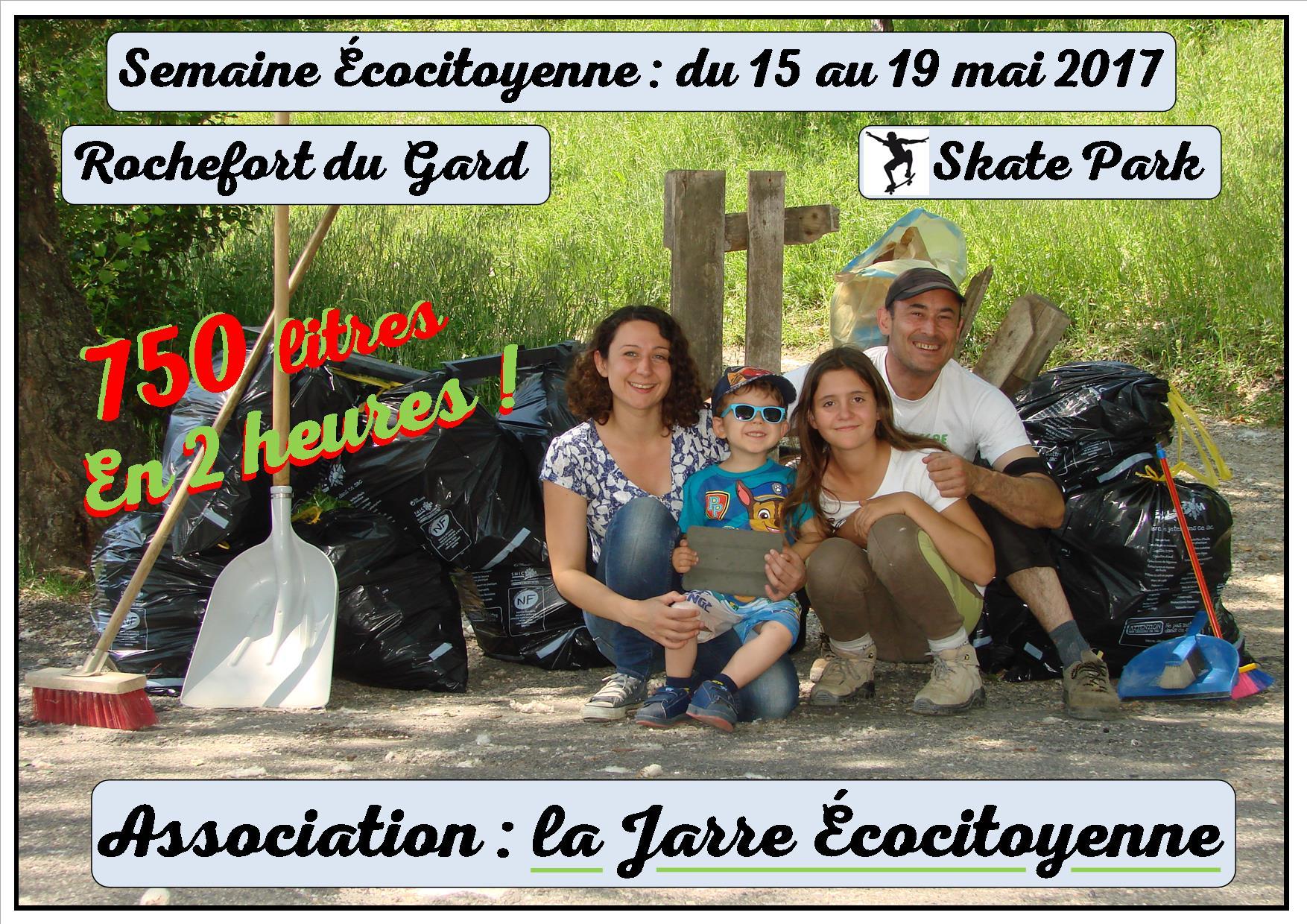 Semaine écocitoyenne - Nettoyage du skate park - 750 litres en 12 heures - Asso la jarre écocitoyenne