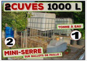 cuves 1000 litres - tonne à eau - 2 utilisations - association la jarre écocitoyenne - dzprod jardin