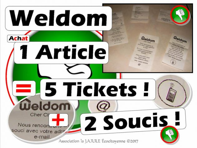 Weldom 1 article donne 70cm de ticket de caisse - Collecte Mail et tel portable