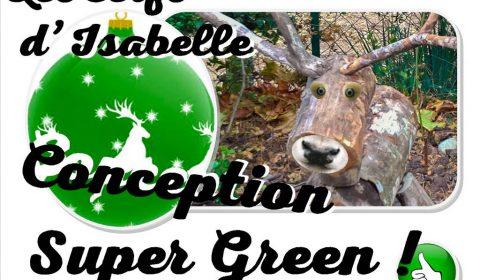 cerf bûche tronc recyclé en decoration noel super green - association la JARRE