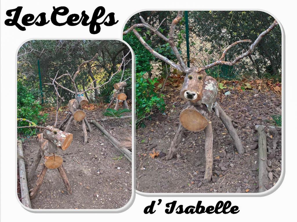 cerfs de Noël - par Isabelle Apuzzo - association la JARRE