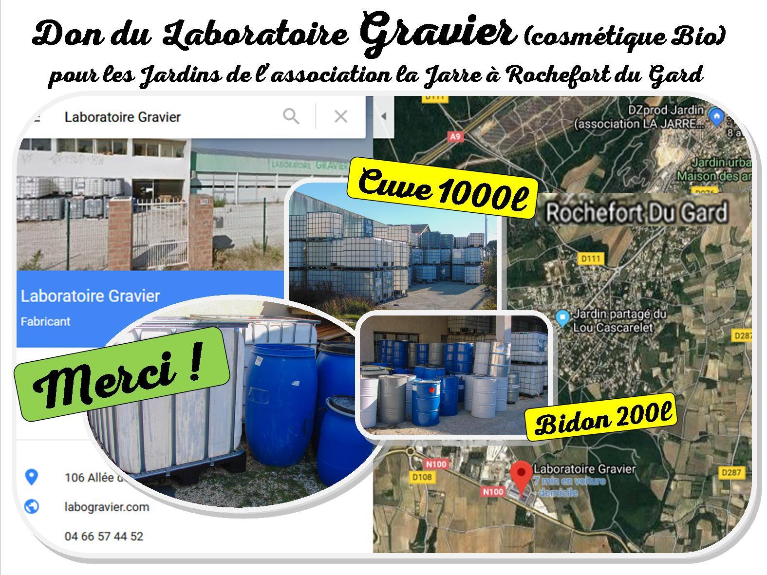 Laboratoire Gravier DOMAZAN - don cuve et bidon pour les jardins de la JARRE de Rochefort du Gard