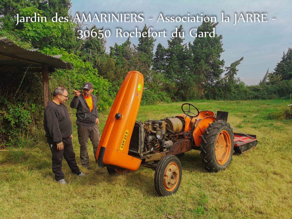 JeanMarie Éric et le tracteur - Jardin des Amariniers - Asso la JARRE