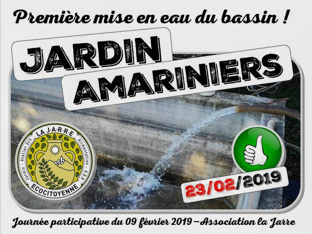 Première mise en eau du bassin du jardin communautaire des Amariniers - asso la jarre - 23-02-2019