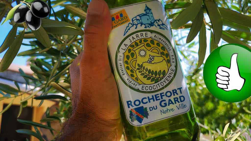 Huile d'olive de la commune de Rochefort du Gard proposée par l'association la JARRE Écocitoyenne
